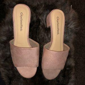 Chunky Heel Suede Slide Sandals